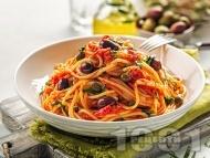 Зеленчукова паста (спагети) Путанеска с домати, каперси, чесън и маслини